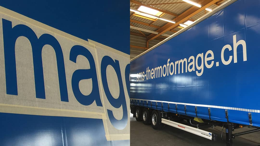 Autocollant sur camion SMS Thermoformage SA - Découpe de lettre et thermoformage sur camion - Mabasi Sérigraphie