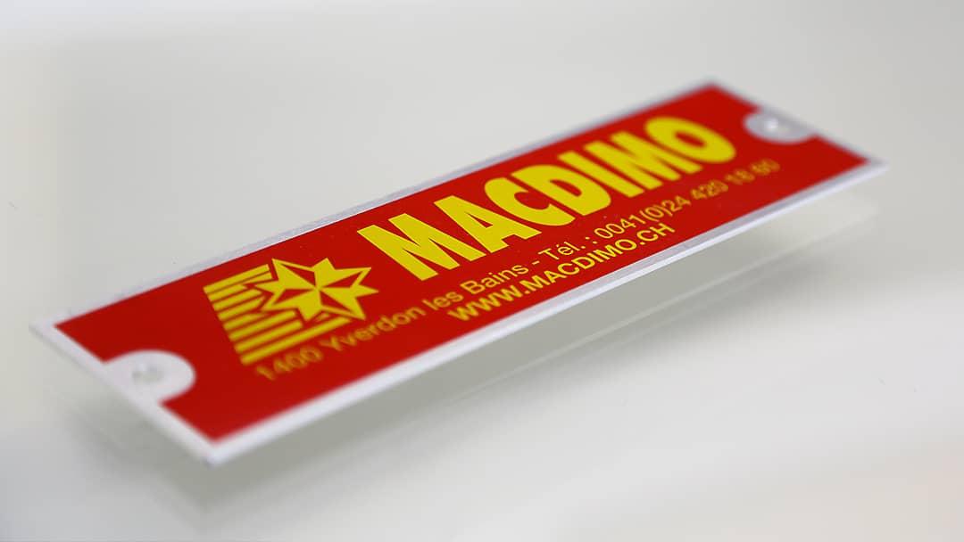 Plaque Macdimo - Sérigraphie sur métal