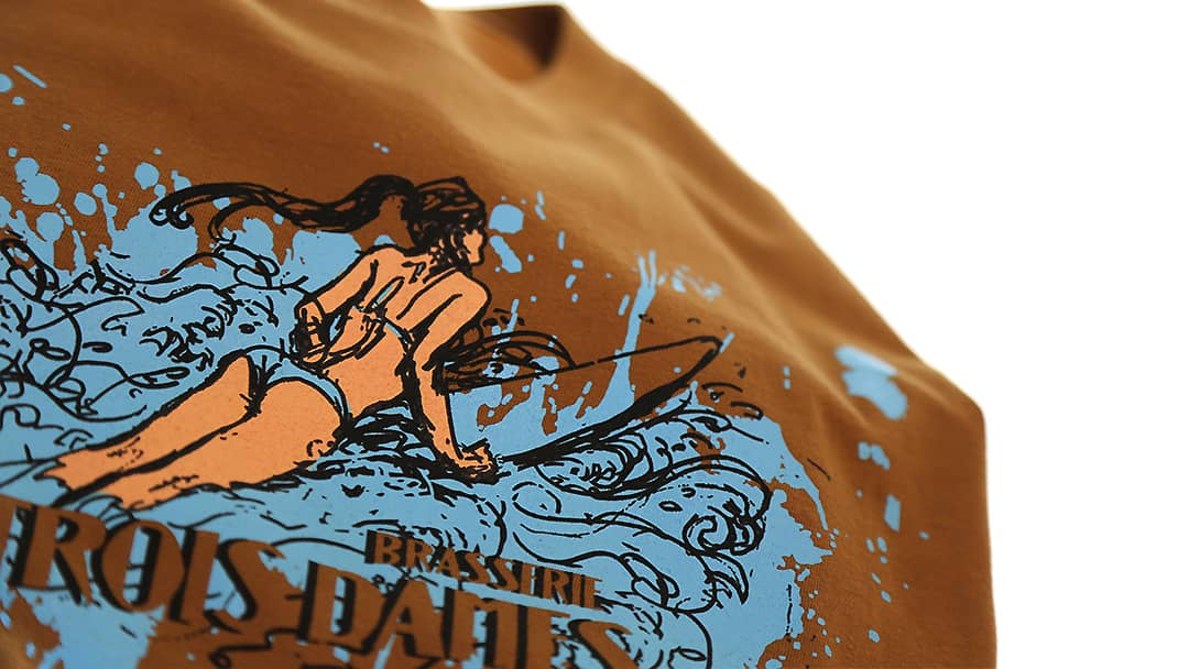 T-shirt modèle Surf brasserie Les Trois Dames - Impression directe